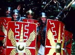 Legionaries with Scutum and helmets.